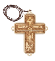 Religious Wall Hanging Pyrography Design Jesus Christ Wooden Cross with Wax String and Written Back Part