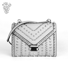2020 New Trendy <strong>Designer</strong> Rivets 100% Genuine Leather Handbags Famous Brands Ladies Shoulder Bags