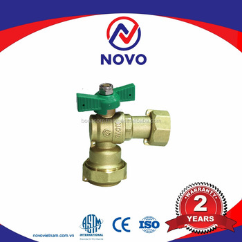 Hot brass angle ball valve with Lock for Water Meter