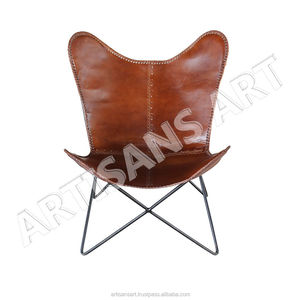 Vintage Comfortable Seating Genuine Leather Butterfly Chair, Leather Furniture, Leather Upholstery
