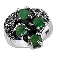 Fashionable Emerald & Gun Metal Gemstone 925 Sterling Silver Ring