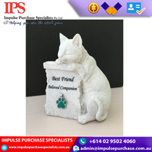 Resin White Cat/Dog Pet Memorial Brass / Polyresin pet memorials