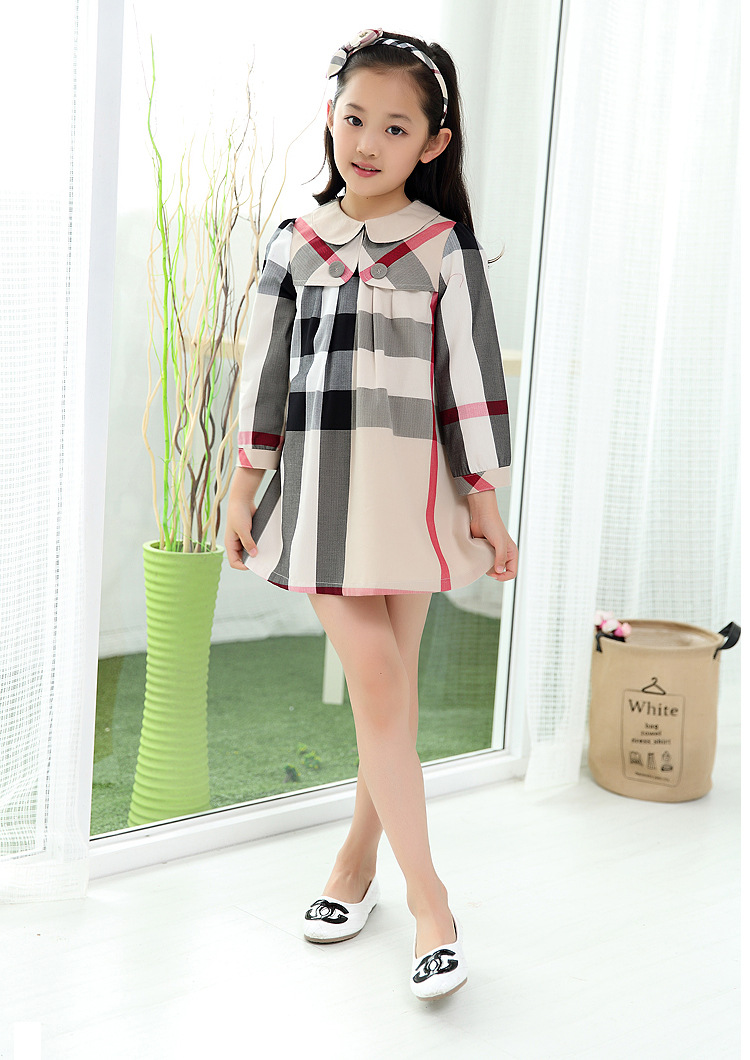 2017 new Spring Autumn Winter kids cotton dress for girls European classical style