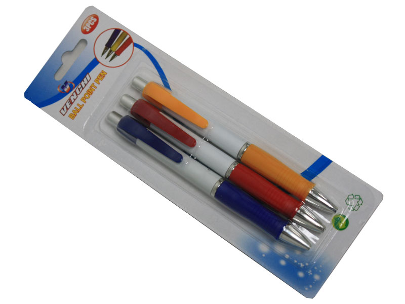 Ball Pens 3 Pcs Color Mix ( Black, Red, Blue )