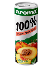 AROMA 250 ML CAN 100% PEACH APPLE JUICE