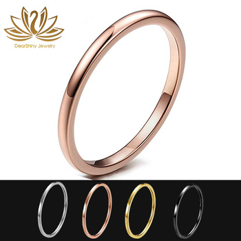 Unisex Simplicity 2mm Tungsten Carbide Rose Gold Hypoallergenic Tungsten Wedding Bands Engagement Promise Ring Domed