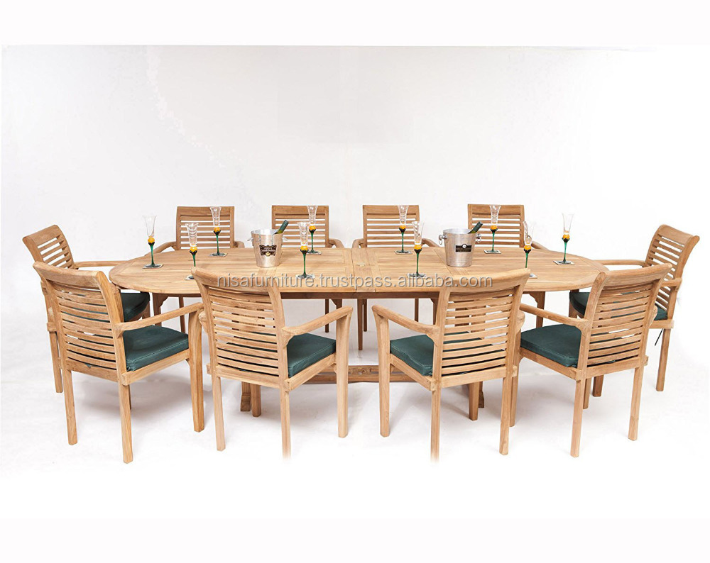 Extendable Dining Table with 10 Stacking Chairs Solid Teak Wood Garden Outdoor Furniture