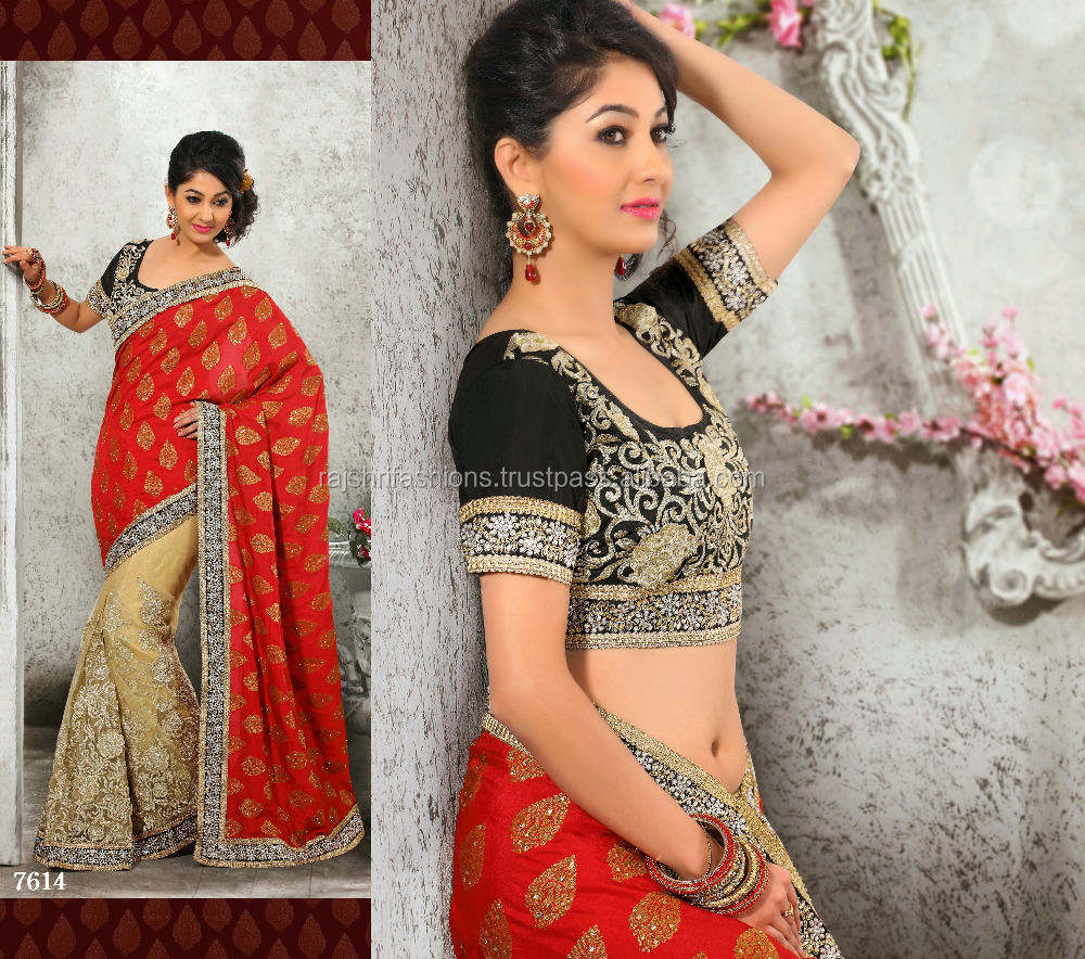 Incredible Red & Golden Color Combination Blooming Bliss Designer Sarees Collections