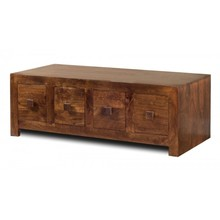 Contemporary Kompact Solid Wood TV Unit 4 Drawers