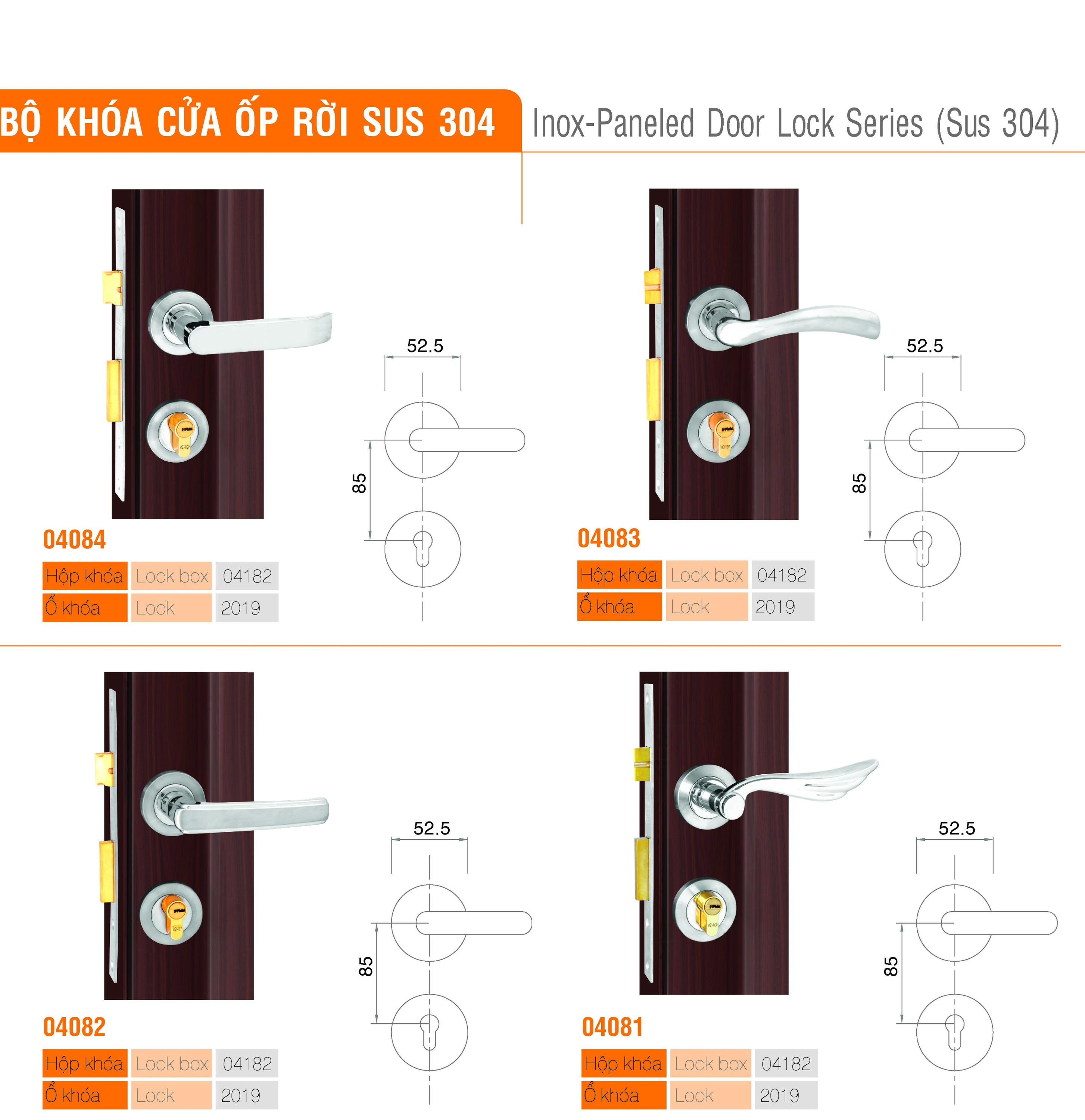 Inox-Paneled Door Lock Series (Sus 304)