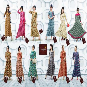 Exotic Rayon Printed Full Stitched Ready To Wear Raguler Wear Gown Style Long Kurti Kurta For Indian Women And Girls