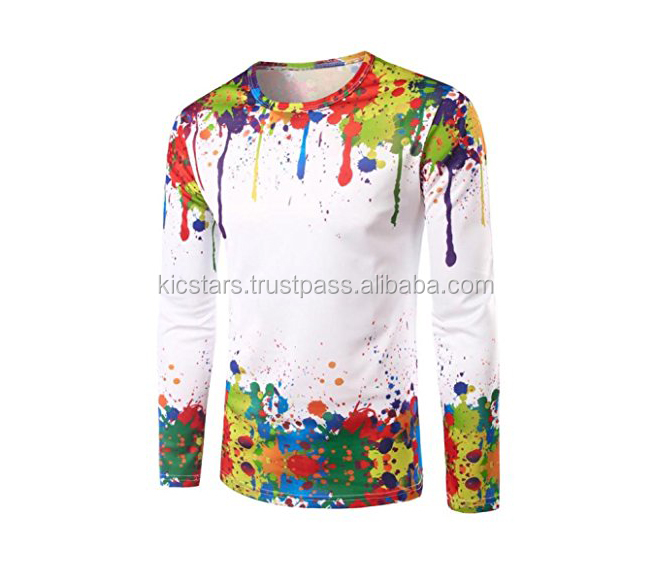 Colorful Crew Neck Splatter Splash Paint Long Sleeve Printing T-Shirt