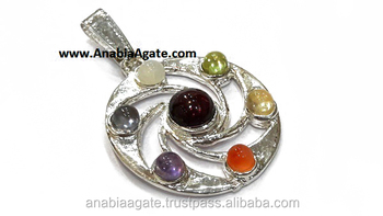 Chakra Spiral Flower Metal Pendant : Wholesale Metal Pendant