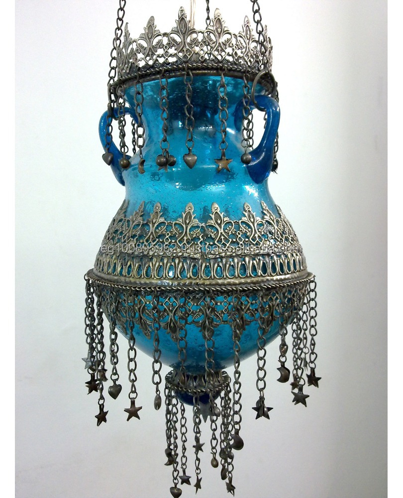 B141 Oriental Egyptian Hand Blown Glass Gypsy Turquoise Pot Lamp