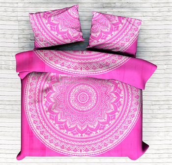 Indian Handmade Pink Ombre Mandala Duvet Cover Set Quilt Cover Comfoter Set Doona Cover Duvet Cover With Pillow Cover