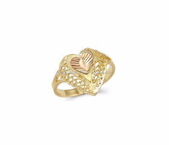 Two Tone Plated Heart Shaped Filigree Ring