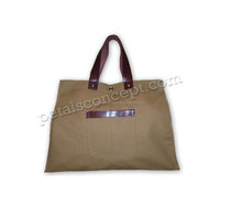 Shopping tote Bag with leather handle & with leather trimming on pocket