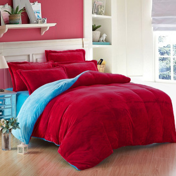 3PC Classic Collection Reversible Sky Blue & Maroon US Twin Size Velvet Duvet Cover Set