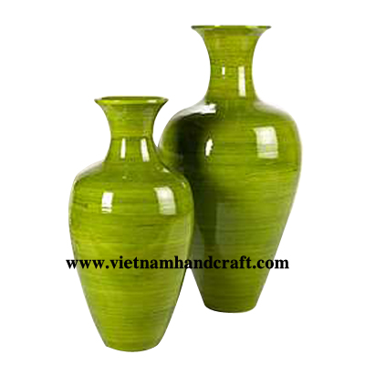 Quality eco-friendly traditionally hand finished vietnamese coiled bamboo tabletop accents