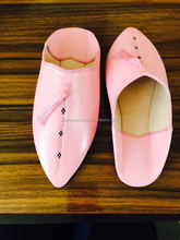 New models pink babouche slippers for women, soft and flexible calf leather moroccan shoes.