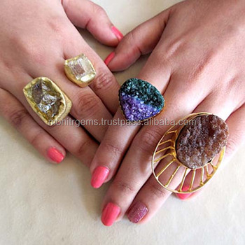 Fashionable Raw Gemstones and Druzy Rings by Mohit R Gems - Adjustable Ring, Agate Ring, Blue, Purple, Brown Rings