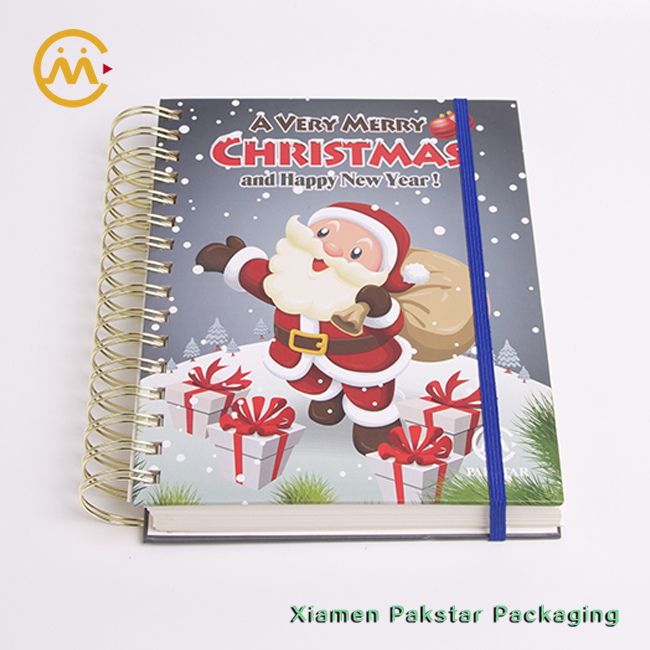 Top quality eco friendly spiral blank hardcover coil binding Christmas gift diary notebook
