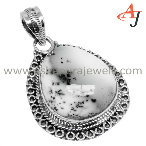 Stylish Collection Dandritic Opal Gemstone 925 Sterling Silver Pendant, Bezel Setting Silver Jewelry, Fashion Jewelry Wholesaler