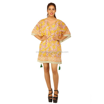 Indian cotton women short caftan wholesale handmade printed daily wear poncho kaftan