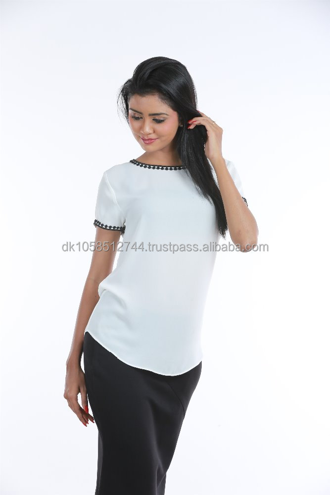 Ladies Round Neck Fashion Blouse