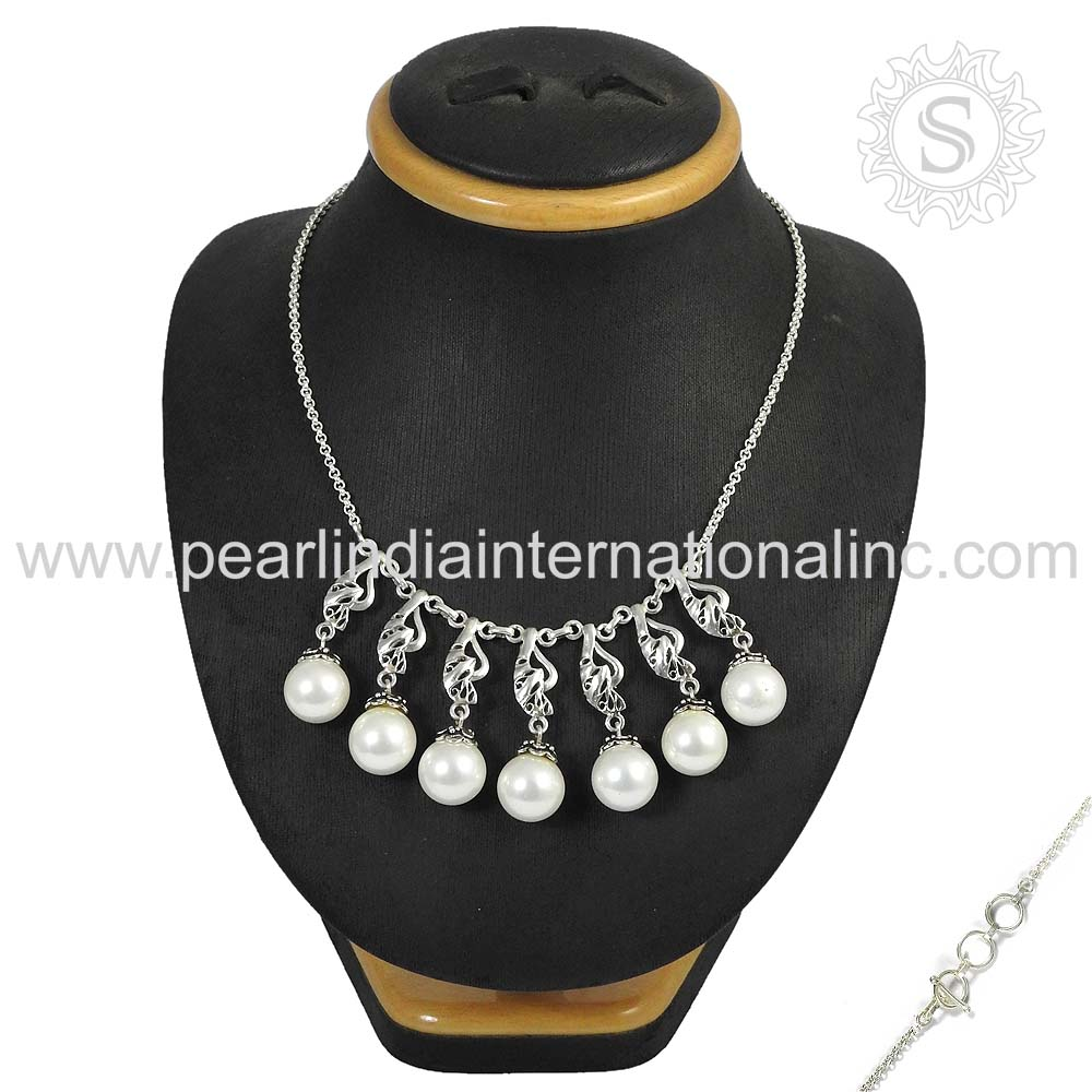 Gorgeous freshwater pearl gemstone necklace jewelry 925 sterling silver handmade jewelry necklace wholesale price