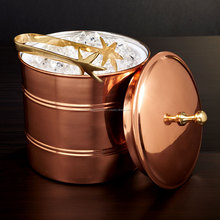 Copper Ice Bucket With Gold Tong