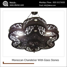 Brass Black Oxidized Moroccan Chandelier With Glass Stones