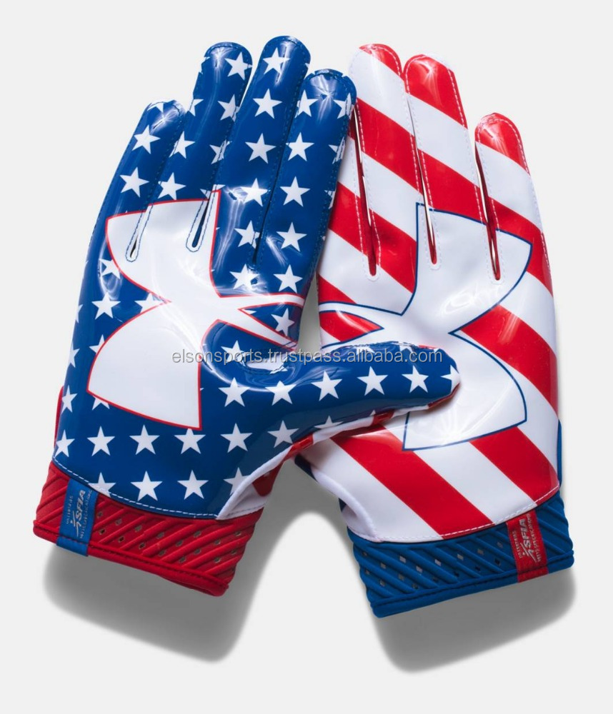 American Football Receiving Gloves with USA flag printed