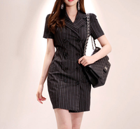 Fashion Double Breasted Striped Above Knee Office Dress