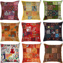 Wholesale Patch Work Indian Sofa Pillow Case Kantha 100% Cotton Chair Cushion Cover, seat Cushion Covers Decor