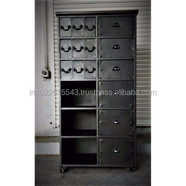 Industrial Tall Storage Cabinet with Drawers and Shelves