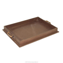 Vintage Wooden Tableware Tray With Metal Handle