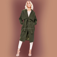 2018 Trendy Ladies Design Collection Fleece Green Coat In Large Lapels