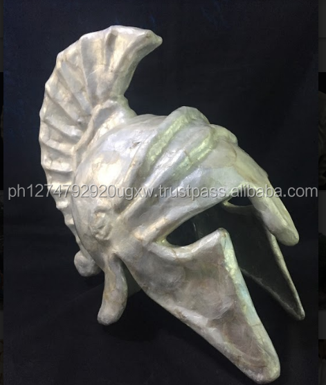 Capiz Greek Helmet Philippine Made Handicraft Lifesize white color