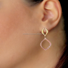 14 carat yellow gold Indian vintage earrings Pave Ruby Gemstone Wholesale Jewelry