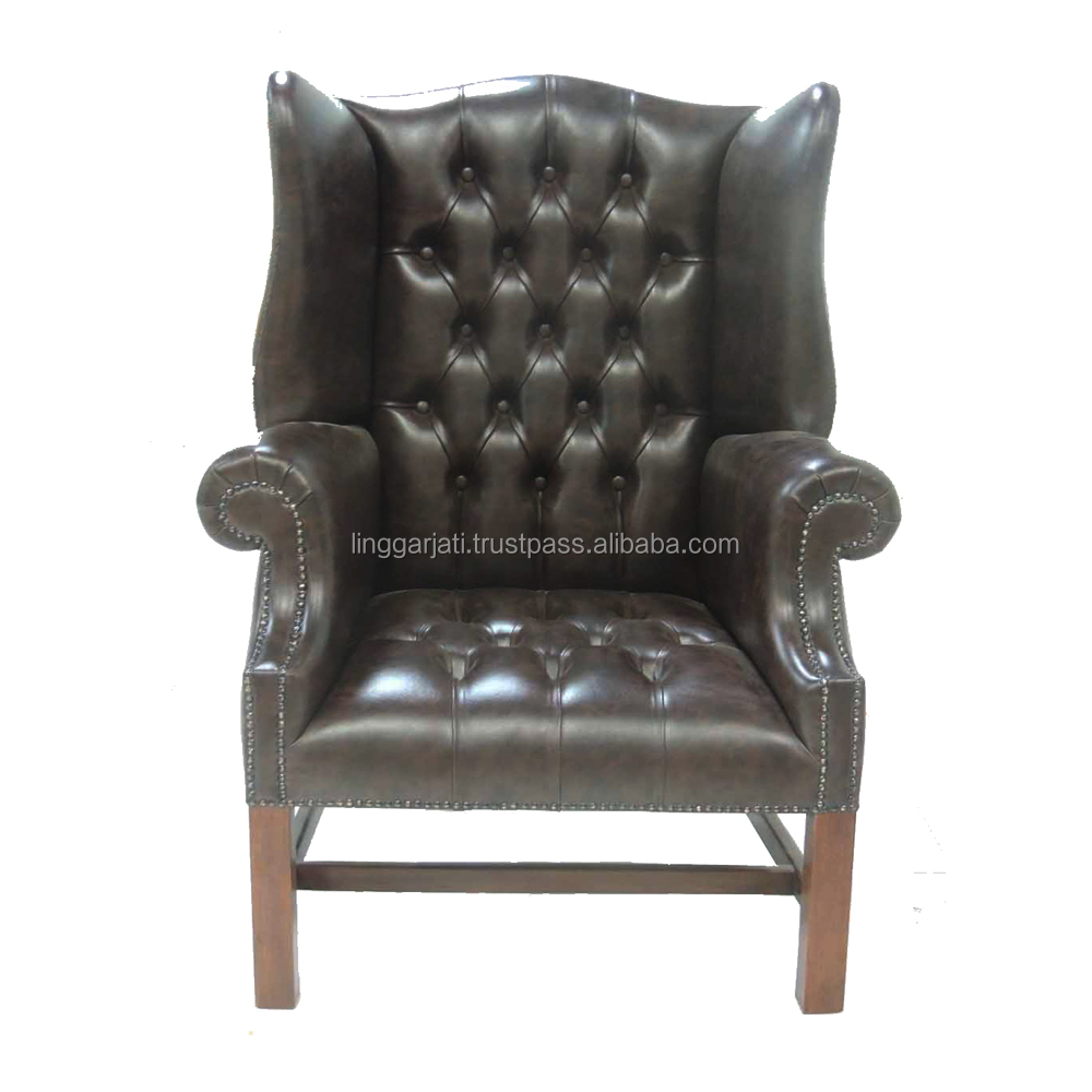 Antique Style Black Big Rest Chair Guest Office Furniture