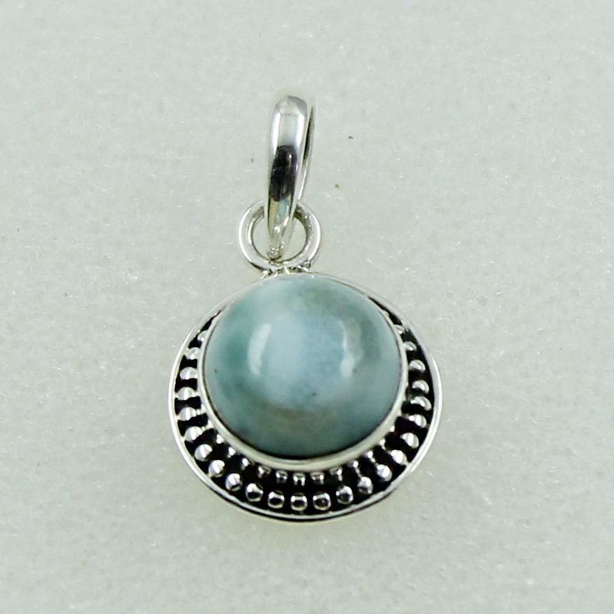 Round Shape Turquoise Stone Handmade 925 Silver Sterling Jewelry Pendant Supplier India