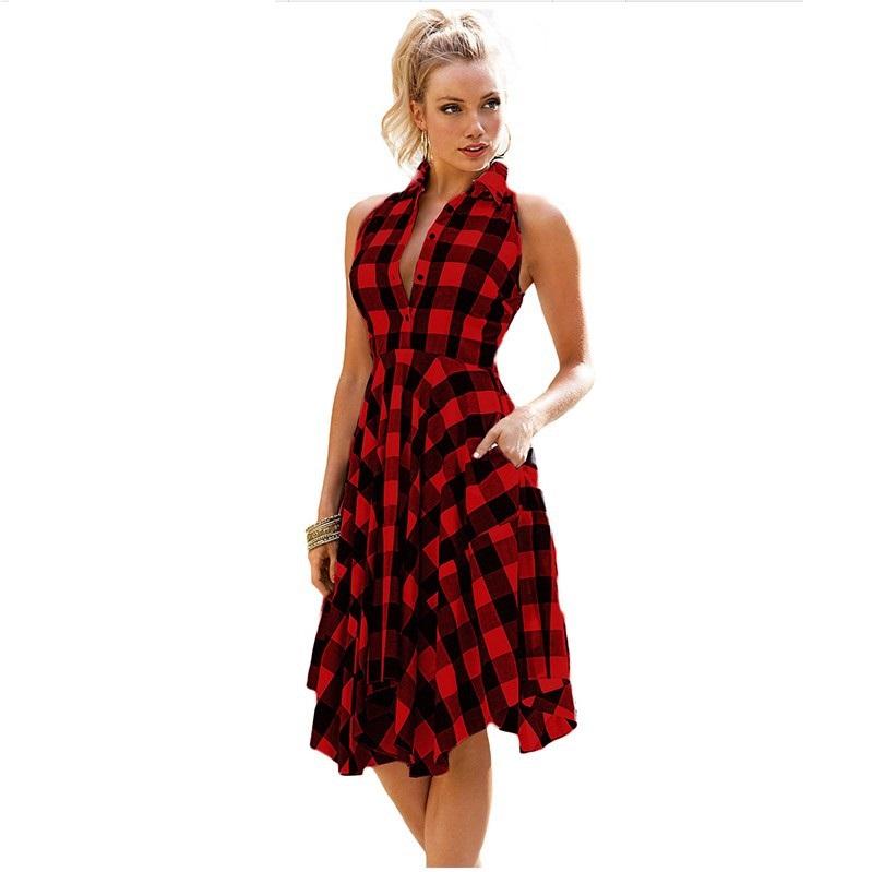 8febfd85273 China Women Plaid Dress