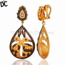 Peacock Design Gold Plated 925 Silver Dangle Earrings Pave Diamond Earring Jewelry Supplier