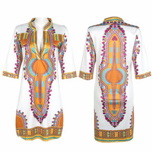 African Dashiki Fad Women Long Sleeve Casual Traditional African Print Dashiki Dress Party Dress COTTON FABRIC 100% Dresses