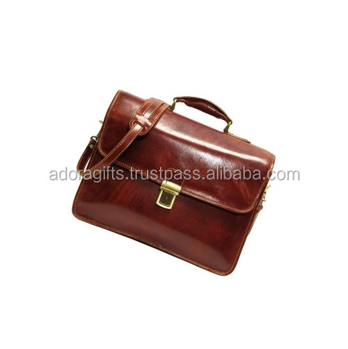 Top level brown leather handbag cross grain business case man laptop bags computor bag / Leather laptop business bags