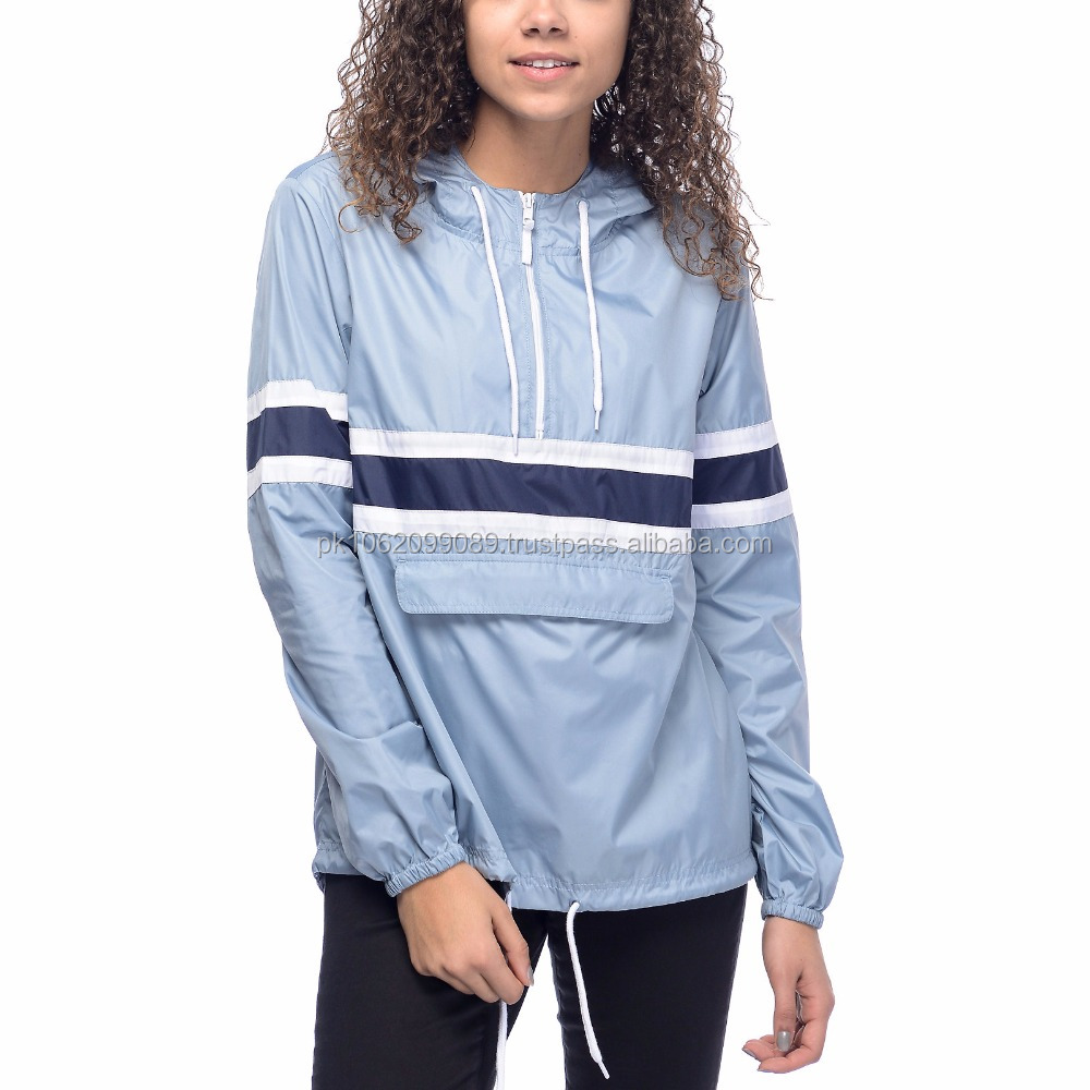 High quality ladies windbreaker pull over jacket center pocket style hidden pocket jacket