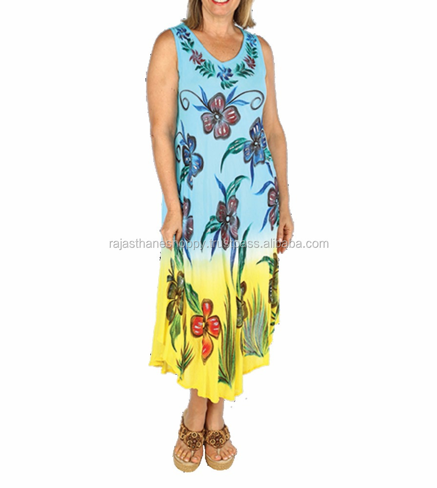 Branded 2017 Girl's Wear Tie & Dye Umbrella Dress With Brush Paint Beach Cover Ups