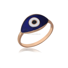 Sterling Silver Evil Eye Enameled Rose Gold Plated Silver Ring Wholesale Handcrafted Jewelry