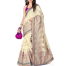 Fashionable Off white Color Fancy Saree.
